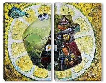 Модульная картина Рыба под лимоном