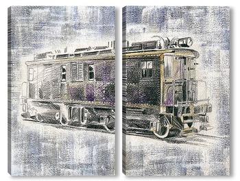 Модульная картина Американский старинный поезд Ингерсол