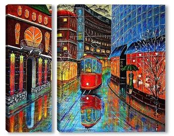 Модульная картина Заблудившийся трамвай