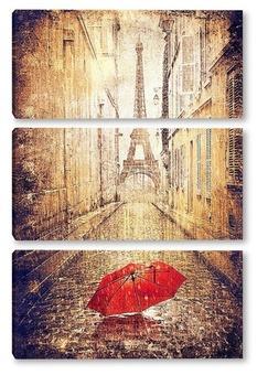 Модульная картина Парижская улица
