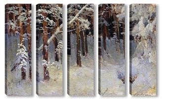Модульная картина Лес зимой. 1880-е