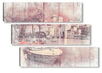 Модульная картина Средневековый замок Сирмионе на озере Ла