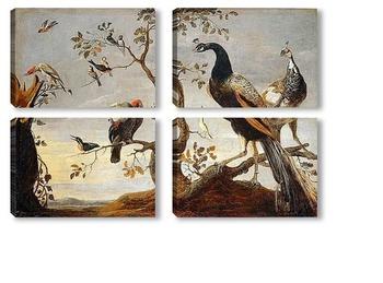 Модульная картина Птичье собрание
