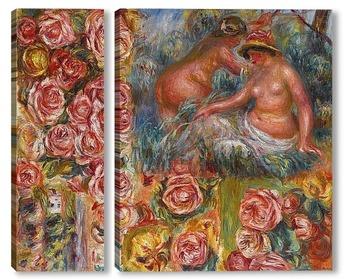 Модульная картина Обнаженные и цветы