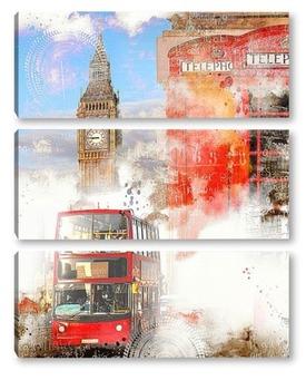 Модульная картина Лондон ретро