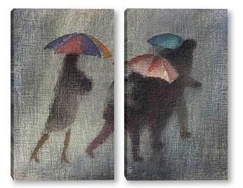 Модульная картина Проливной дождь.