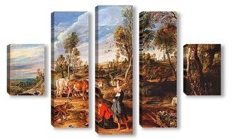 Модульная картина Доярки с крупного рогатого скота, пейзаж
