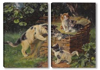 Модульная картина Кошка со своими четырьмя мальчиками