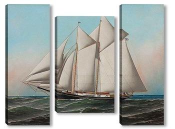 """Модульная картина Американская яхта """"Летающий флаг"""" яхт-клуба Нью-Йорка"""