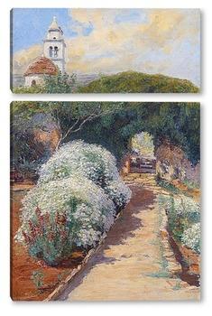 Модульная картина цветущий монастырский сад
