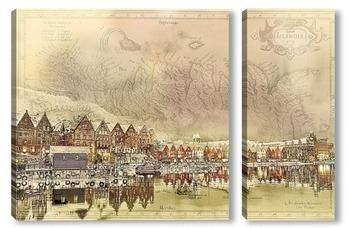 Модульная картина Городок в Исландии