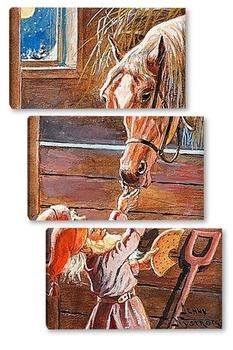 Модульная картина Санта-Клаус кормление лошадив конюшне