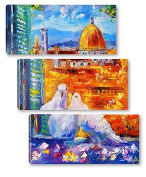 Модульная картина Голуби Флоренции