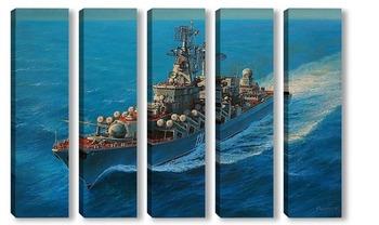 Модульная картина ракетный крейсер ,,Москва,,