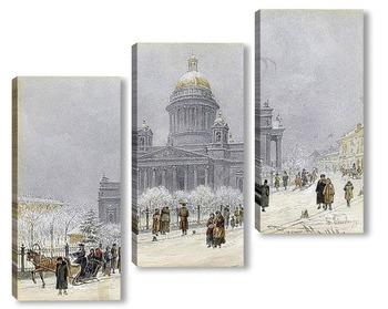 Модульная картина Исаакиевский собор в снежный день