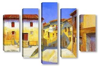 Модульная картина Синее небо в желтом городе