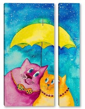 Модульная картина Двое под одним зонтом