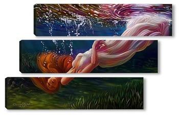 Модульная картина Девушка под водой