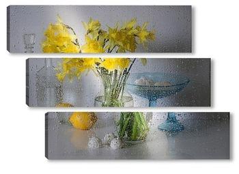 Модульная картина Весенние цветы нарциссы