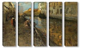 Модульная картина Прогуливаясь вдоль канала. Милан