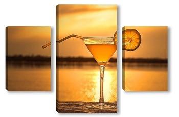 Модульная картина Юокал с коктейлем и долькой лимона