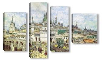 Модульная картина Расцвет Кремля. Всехсвятский мост и Кремль в конце XVII века. 1922