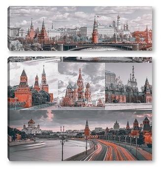 Модульная картина Монохромная Москва
