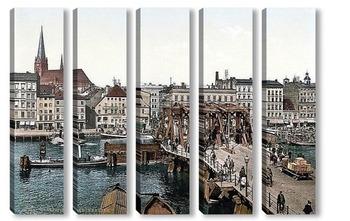 Модульная картина Длинный мост в Щецине.1890-1990 гг