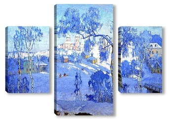 Модульная картина Зимний пейзаж с церковью