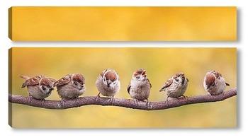 Модульная картина птенчики
