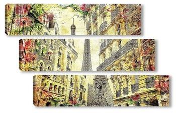 Модульная картина Париж. Эйфелева башня