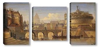 Модульная картина Рим замок ангела