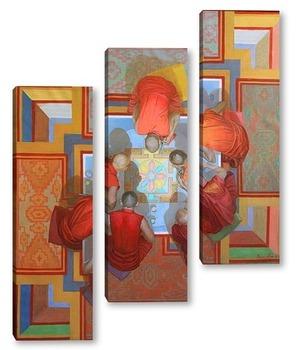 Модульная картина Создание мандалы