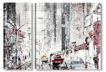 Модульная картина Город. Акварель