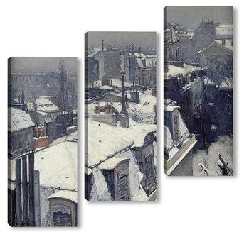 Модульная картина Крыши в снегу