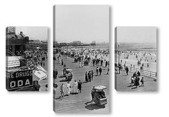 Модульная картина Купающиеся на пляже,Атлантик-Сити,1915г.