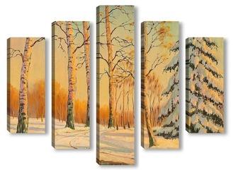 Модульная картина зимний пейзаж