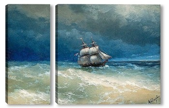 Модульная картина Прибрежная сцена во время шторма