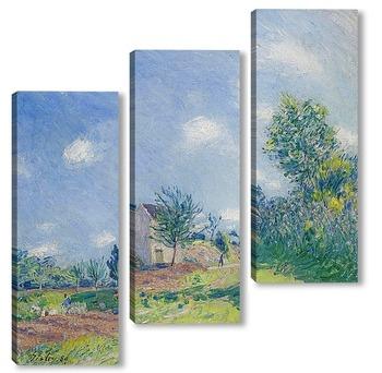 Модульная картина Весенний пейзаж-дорога на окраине Море-сюр-Луан