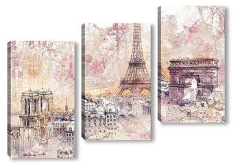 Модульная картина Парижская архитектура