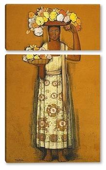 Модульная картина Женщина с цветами