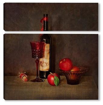 Модульная картина Вино и фрукты