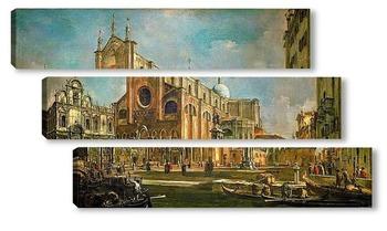 Модульная картина Кампо Сан Дзаниполо (площадь свв Иоанна и Павла) со скуолой Сан