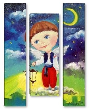 Модульная картина Ангелочек с фонариком