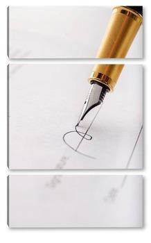 Модульная картина Заключение договора. Подпись.