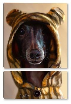 Модульная картина Собака-тигренок 9левретка)
