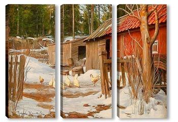 Модульная картина Конец зимы, с хозяйственными постройками и клюют куры