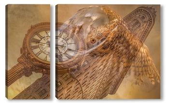 Модульная картина Сова и часы