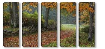 Модульная картина Осень на хуторе