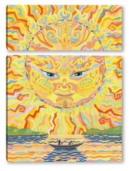 Модульная картина Солнце и гребцы